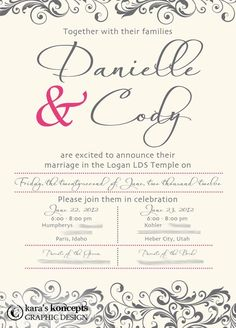 printable wedding announcement  lds mormon wedding invitation, invitation samples