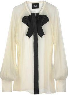 4432c56a D&G 1024 D&G Dolce & Gabbana Bow-embellished silk blouse - ShopStyle  Longsleeve