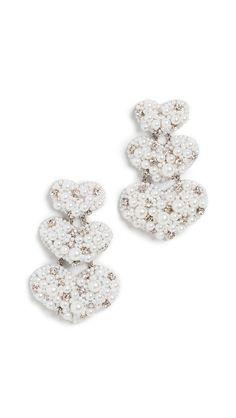 Deepa Gurnani Annabella Earrings In White Deepa Gurnani, India Fashion, Glass Beads, Diamond Earrings, Pearls, Stone, Crystals, Jewelry, Indian Fashion