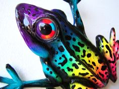 Whimsical frog art colorful sculpture wall decor by artistJP, $15.00