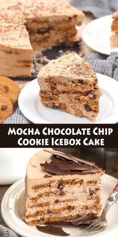Mocha Chocolate Chip Cookie Icebox Cake – a scrumptious, no bake dessert for mocha lovers! A luscious layered, no-bake dessert with chocolate chip cookies, mascarpone mocha cream and chocolate shards! You'll swoon with every bite! Chocolate Chip Cookies, Desserts With Chocolate Chips, Köstliche Desserts, Delicious Desserts, Dessert Recipes, Yummy Food, No Bake Desert Recipes, Creative Desserts, Mocha Chocolate
