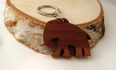 Wooden Elephant Keychain, Walnut Wood, Animal Keychain, Environmental Friendly Green materials