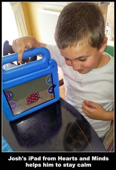 Josh's iPad from Hearts and Minds helps him to stay calm 10 Year Old Boy, Stay Calm, Heart And Mind, Ipads, Old Boys, Autism, Wii, Lunch Box, Hearts