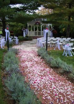 Gazebo decorated for a spring wedding on the grounds of the Historic Kirkwood House and Kirkwood Inn in Mason, OH.