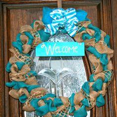 Welcome Blue Summer burlap wreath door hanger by TheSassyTexan, $50.00