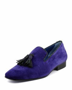 Drake Men\'s Velvet Tassel Smoking Slipper, Purple by Hadleigh\'s at Neiman Marcus.