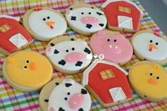 Biscoitos decorados Fazendinha - Farm animals decorated cookies