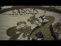 Bayeux Tapestry...  magical 1000 yr old history 70 meters long.  Aesops fables, etc. 4:57min. needlework with wool on linen.