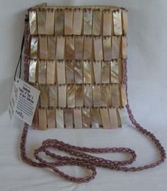 Mad by Design 2009 Handmade MOP and Horn Small Flapper Syle Purse Bag NWT