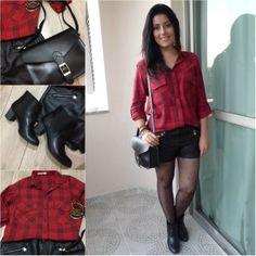 """Tartan skirt, leather short, black boots and tights. Camisa xadrez, short de """"couro"""", botas pretas e meia calça de corações. Link: http://www.elropero.com/2014/05/fashion-set-camisa-xadrez-shorts-de-couro.html"""