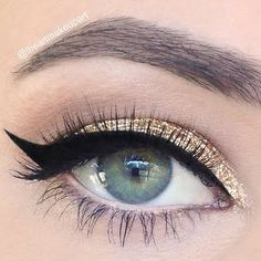 A splash of golden glitters and a sweep of a sexy cat flick is equal to an instant party look. Discover what you need to recreate this glam makeup.