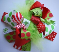 Items similar to boutique GRINCHY funky fun hair bow clip on Etsy Diy Hair Bows, Diy Bow, Bow Hair Clips, Bow Clip, Ribbon Hair, Christmas Hair Bows, Grinch Christmas, Xmas, Barrette