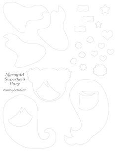Mermaid Superhero paper character template - Mommy Scene