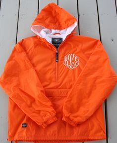 In maroon! Monogrammed Half Zip Pullover Rain Jacket by GladevilleFarmhouse, $45.00