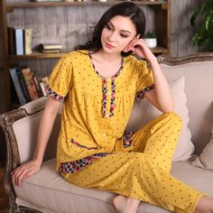 가을 니트면 잠옷 라운드 넥 여성 파자마 세트 폴카 도트 라운지 잠옷 전체 소매 잠옷 캐주얼 Homewear-에서New 2016 Women Pajama Set 100% Knitted Cotton Lace Full Sleeve Pyjamas Sleepwear Casual Plaid Round Neck Sleep Lounge Ho부터 파자마 세트 의 Aliexpress.com | Alibaba 그룹
