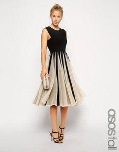ASOS Tall   ASOS TALL Mesh Insert Fit and Flare Midi Dress at ASOS