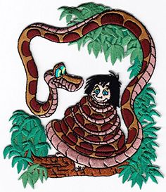 "[Single Count] Custom and Unique (4 3/4"" x 4"" Inch) Cartoon Jungle Book Boy and Snake Iron On Embroidered Applique Patch {Hues of Green and Brown Colors} myLife Brand Products http://www.amazon.com/dp/B010OR600W/ref=cm_sw_r_pi_dp_cFyPvb19X2BKC"
