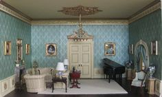 Downton Abbey Inspired Dollhouse Miniature Room Box 1/12th scal. Best doll house room EVER!