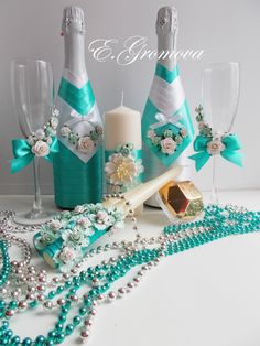 Набор свадебных аксессуаров для бирюзовой свадьбы
