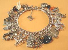 Vintage Sterling Silver Halloween Charm Bracelet 93g