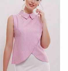 / pink and white striped blouse / Hijab Fashion, Girl Fashion, Fashion Dresses, Fashion News, Blouse Styles, Blouse Designs, Cool Outfits, Casual Outfits, Sewing Blouses