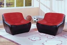 Oversized red microfiber and black vinyl gamer chair for hours of game play.