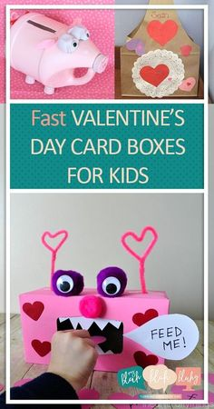 Fast Valentines Day Card Boxes for Kids| Valentines Day Boxes, Kid Stuff, DIY Kid Stuff, Kid Crafts, Crafts for Kids, Popular Pin #ValentinesDay #Crafts #CraftsforKids
