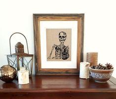 Coffee Wall Art Print - Unframed - Funny Art Prints - Skeleton Art Prints - Gothic Gift - Coffe Lover - Kitchen Wall Art - Coffee Decor Fabric Art, Linen Fabric, Coffee Wall Art, Skeleton Art, Screen Design, Kitchen Wall Art, Funny Art, Wall Art Prints, Screen Printing