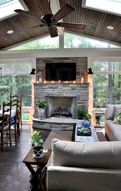 Summer Porch Tour - The Endearing Home - Home Decoration - Interior Design Ideas Style At Home, Four Seasons Room, Sunroom Decorating, Decorating Ideas, Decor Ideas, Summer Porch, Room Additions, House With Porch, Home Fashion