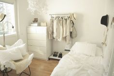 I love all white bedrooms. I can't decide if I want to turn my new room into something like this.. or something completely different that looks more like a gypsy cart.