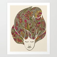 Dreaming with flowers Art Print by Valentina | Society6