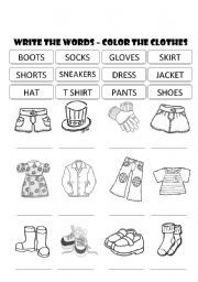 English worksheet: CLOTHES - WRITE THE WORDS AND COLOR THE PICTURES