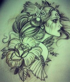 Tattoo drawing of a Girl with roses and winged headdress by Sake