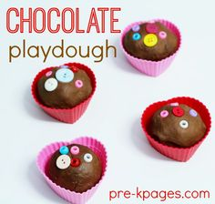 Valentine Heart Chocolate Playdough Recipe for Preschool. This recipe is super easy to make and smells delicious! Add some fun and fine motor skills to your Valentine's Day celebration with this playdough!