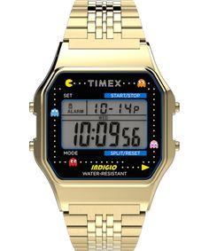 80s Timex Indigo Pac-Man Watch, Gold Tone