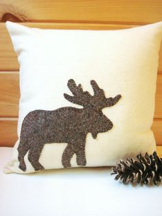 Decorative Throw Pillow Rustic Moose Pillow Cabin by AwayUpNorth
