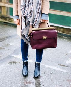 everyday casual chic in a camel coat, booties, print scarf + burgundy tote #streetstyle