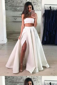 Cute Two Pieces Prom Dresses, Prom Dresses Long, 2019 Prom Dresses, Lace White Prom Dresses Outlet Fine Prom Dresses Long Two Piece Strapless FloorLength White Lace Prom Dress With Split Wite Prom Dresses, Split Prom Dresses, Prom Dresses 2018, Prom Party Dresses, Dress Prom, Dress Lace, Maxi Dresses, Long Dresses, White Formal Dresses