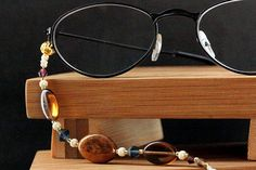 Beaded Eyeglass Chain in Brown, Blue, Purple and Cream.  Handmade Eyeglass Holder. on Etsy, $376.34