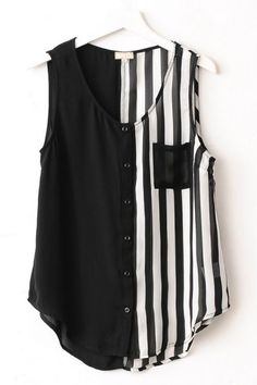 Striped Sleeveless Chiffon Shirt OASAP.com: