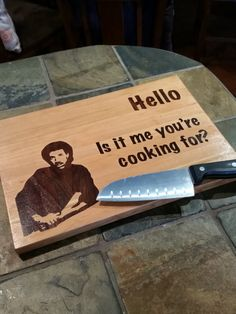 9x13 Original Hello, Is it ME you're cooking for? Inlay Cutting Board, Father's Day, Gift for her, Gift for him, Old school, Lionel Richie