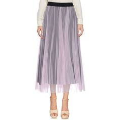 Msgm 3/4 Length Skirt ($230) ❤ liked on Polyvore featuring skirts, pink, pleated tulle skirt, pink skirt, purple pleated skirt, pleated skirts and knee length pleated skirt
