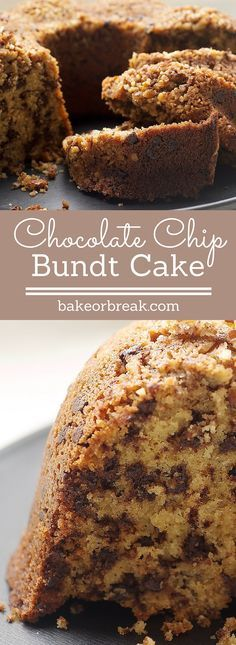 Chocolate Chip Bundt Cake is a delicious combination of brown sugar, chocolate, and nuts. This one is always a winner! - Bake or Break ~ www.bakeorbreak.com