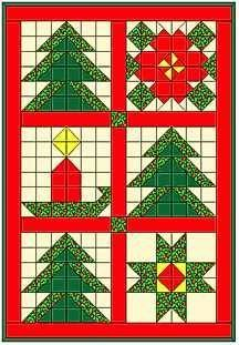 Christmas Tree Sampler Quilt - all simple squares and HSTs Christmas Tree Skirts Patterns, Christmas Tree Quilt, Christmas Patchwork, Christmas Blocks, Christmas Quilting, Christmas Sewing Projects, Christmas Crafts, Xmas, Barn Quilt Patterns