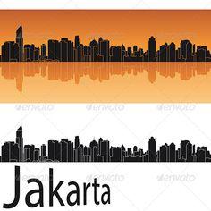 Jakarta Skyline in Orange Background