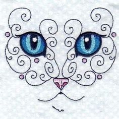 """This free embroidery design is from Design by Sick's """"Swirly Cat"""" collection."""