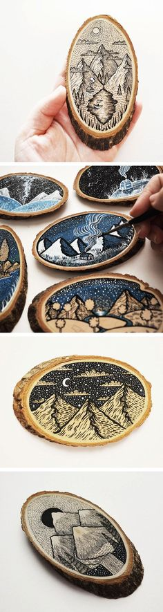 Decorative Rocks Ideas : Scenic Illustrations on Wood Slices by Meni C.,Decorative Rocks Ideas : Scenic Illustrations on Wood Slices by Meni Chatzipanagiotou How To Produce Wood Art ? Wood art is generally the job of shapi. Wood Burning Crafts, Wood Burning Art, Wood Crafts, Diy Wood, Diy Crafts, Painting On Wood, Painting & Drawing, Wood Paintings, Diy Painting