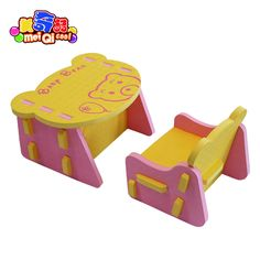 children EVA chair and desk Kids safe table infant anticollision cozy chair bear pattern form desk and chairs