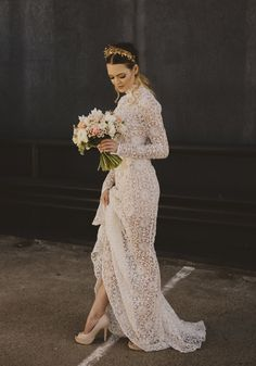 long sleeve lace wedding dress with high neckline