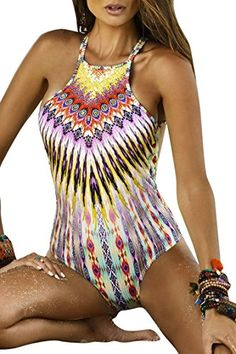 3c5a59ca05bca Kisscy Womens Boho Ethnic Floral Printed High Neck One Piece Monokini  Tankini S -- BEST